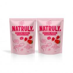 Natural Proteína vegana sabor fresa y frambuesa